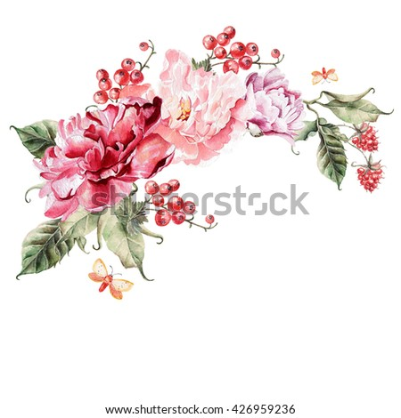 Bouquet of peony flowers, berries, currants and raspberries. Watercolor illustration - stock photo