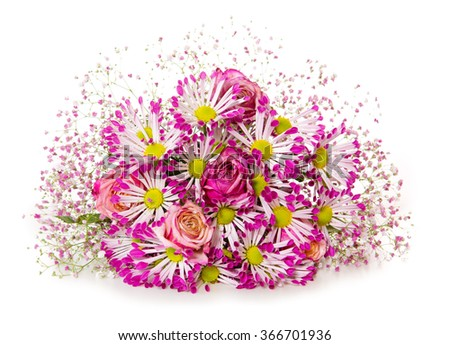 Bouquet of pink flowers  isolated on white. - stock photo