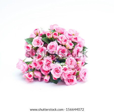 Bouquet of pink rose flowers isolated on white - stock photo