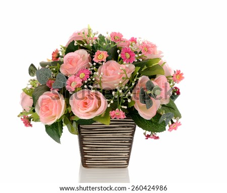 Bouquet of pink roses in a vase on white background - stock photo