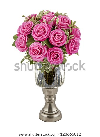 bouquet of pink roses in vase isolated on white - stock photo