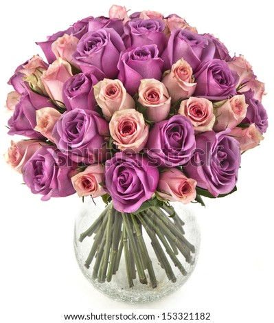 bouquet of pink roses  in vase on white background - stock photo