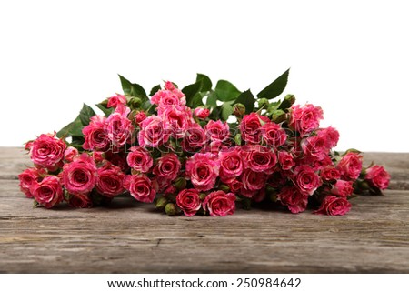 Bouquet of pink roses isolated on a white background - stock photo