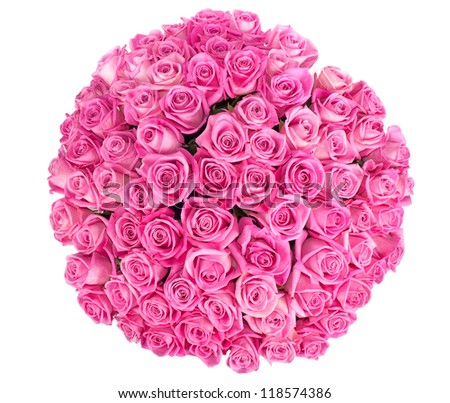 bouquet of pink roses on a white background - stock photo