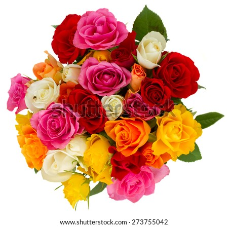 bouquet of pink, yellow, orange, red, and white fresh roses isolated on white background, top view - stock photo