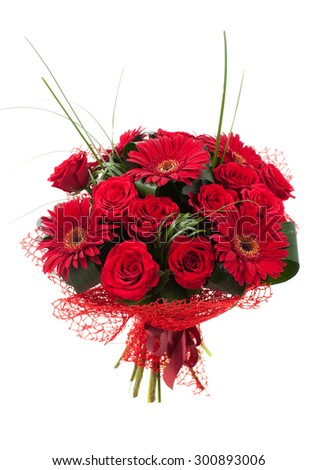 Bouquet of red flowers. Rose and Chrysanthemum. White background, isolated,