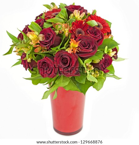 bouquet of red roses  and gerberas in vase isolated on white - stock photo