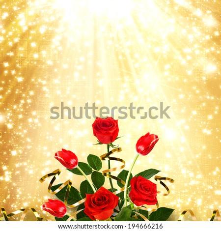Bouquet of red roses and tulips with green leaves and ribbons on the abstract background with stars