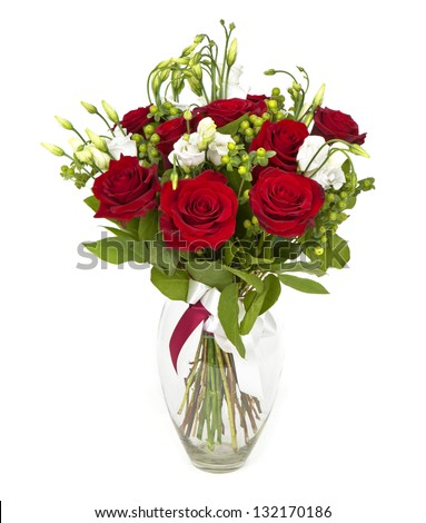 bouquet of red roses  and white flowers  on white - stock photo