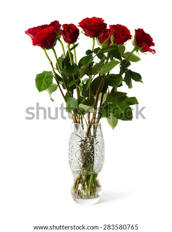 Bouquet Red Roses Beautiful Crystal Vase Stock Photo Royalty Free