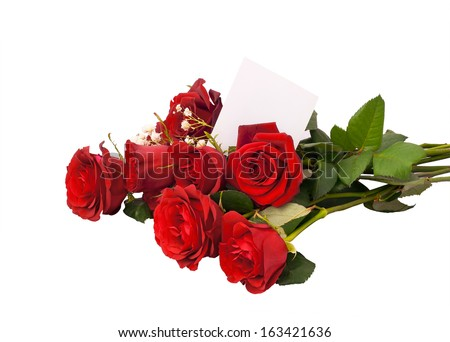 Bouquet of red roses on a white background. Isoleted. - stock photo