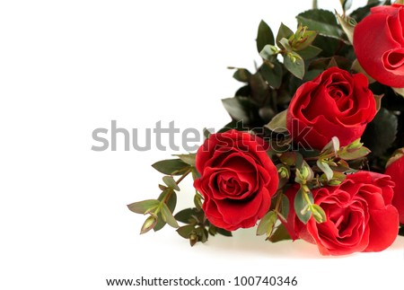 bouquet of red roses on white background - stock photo