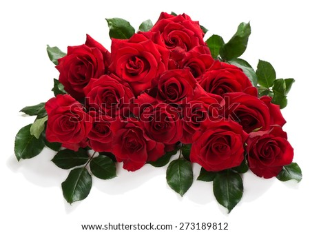 Bouquet of red roses with green leaves isolated on white