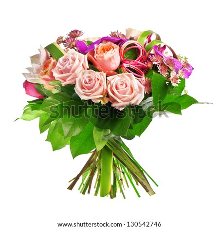 bouquet of rose, paeonia and orchid - stock photo