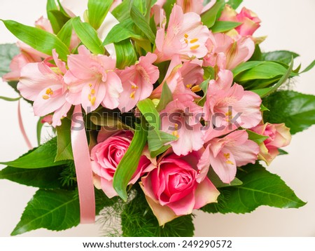 bouquet of roses and alstroemeria - stock photo