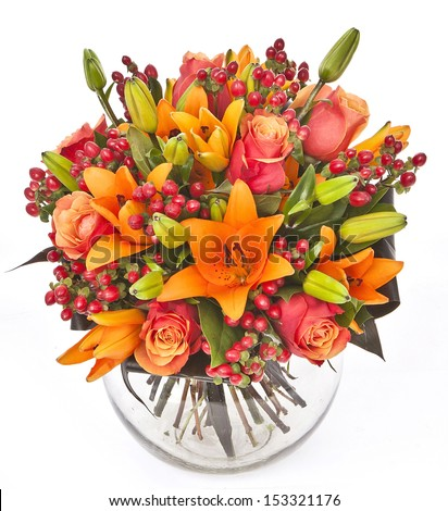 bouquet of roses and lilias in vase on white background - stock photo