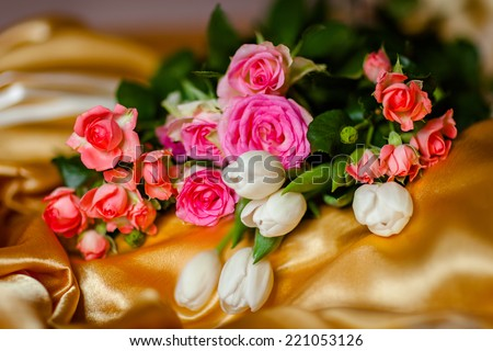 Bouquet of roses and tulips - stock photo