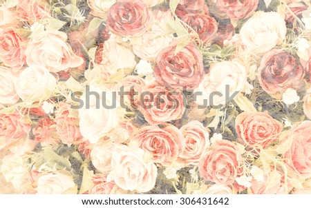Bouquet of  roses in mulberry paper texture vintage style for background soft focus. - stock photo