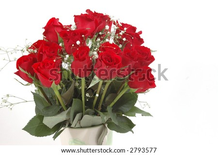 Bouquet of roses on white background - stock photo