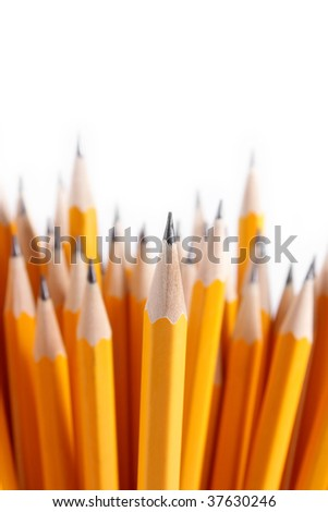 Bouquet of sharpened pencils. Focus on first pencil - stock photo
