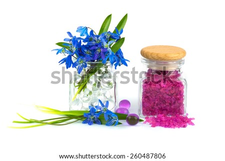 Bouquet of spring flower with lavender aroma salt isolated on white background - stock photo