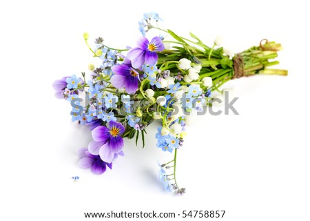 Bouquet of spring flowers on white isolated background - stock photo