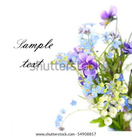 Bouquet of spring flowers on white isolated background.Floral border. - stock photo