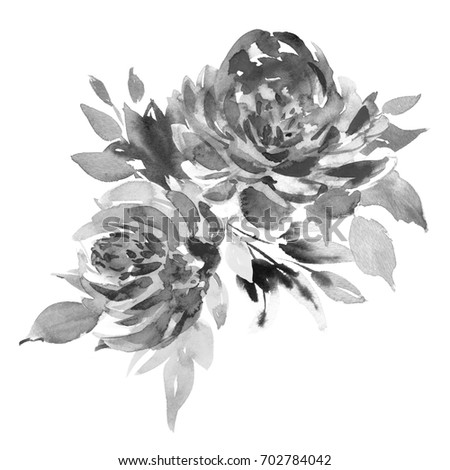 Bouquet two black white roses watercolor stock illustration bouquet of two black and white roses watercolor painting wedding and birthday drawing mightylinksfo