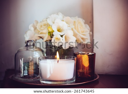 Bouquet White Flowers Vase Candles On Stock Photo Royalty