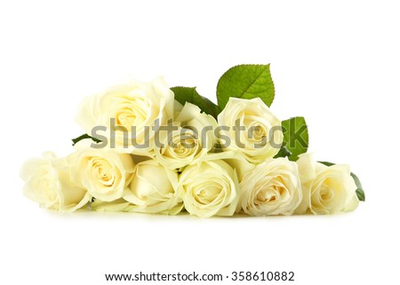 Bouquet of white roses isolated on white - stock photo