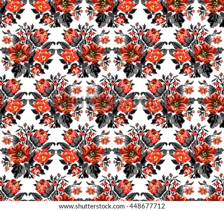 Bouquet of wildflowers (lilia, bellflower, barberry flower and cornflowers) in red and black tones using traditional Ukrainian embroidery elements.  Seamless. Pattern. - stock photo