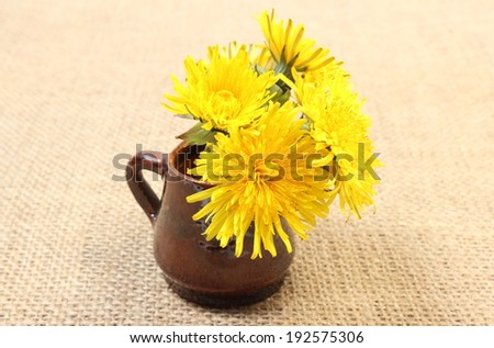Bouquet of yellow fresh flowers of dandelion in brown vase lying on jute canvas