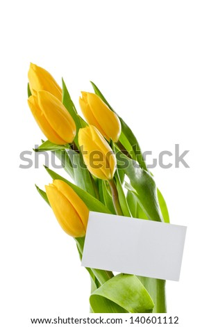 Bouquet of yellow tulips with blank white card against white background