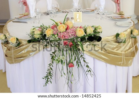 Bouquet on the wedding table - stock photo