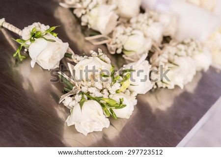 bouquet on white chair,Bouquet of white wedding table
