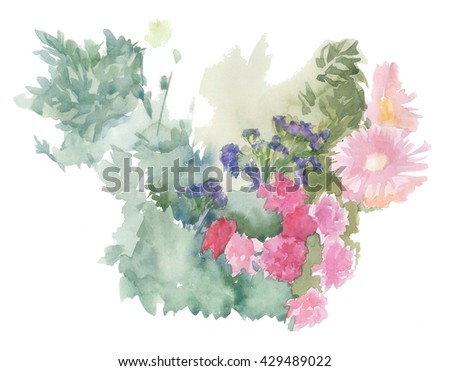 Bouquet pink chamomile hand-made watercolor painted painting artwork artist festival botanic botanical garden beautiful greeting drawing drawn colorful hand-painted happy wonder fresh romantic leaves  - stock photo