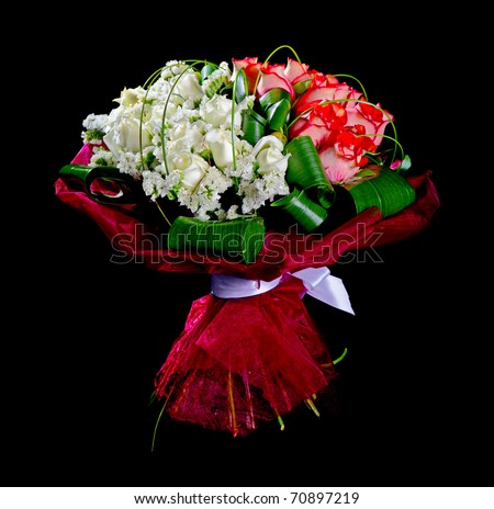 bouquet red and white roses isolated over black