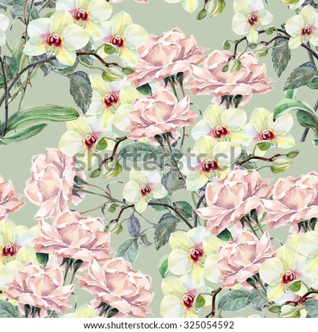 Bouquet rose and orchid, watercolor, pattern seamless - stock photo
