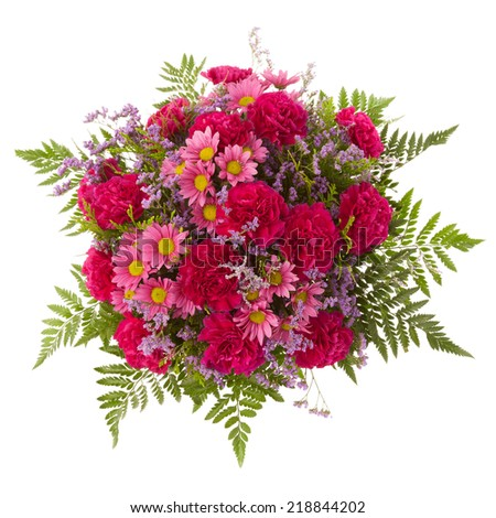 Bouquet seen from above. Carnation, Chrysanthemum and Limonium flowers. - stock photo