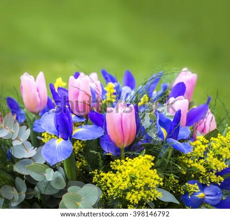 Bouquet. Violet irises and yellow tulips. Macro - stock photo