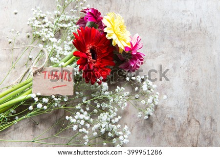 Bouquet with gerbera flowers/thaks concept - stock photo