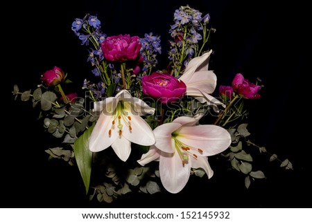 Bouquet with lilies, peony and delphinium