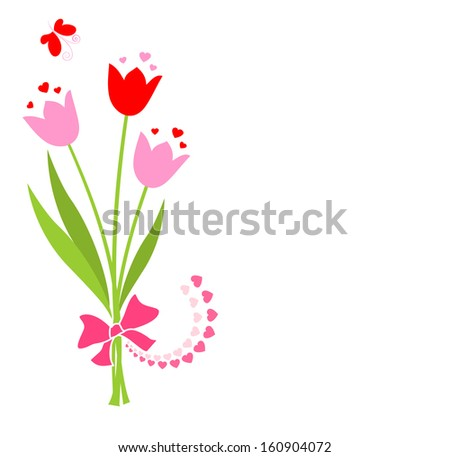Bouquet with tulip. Raster copy - stock photo