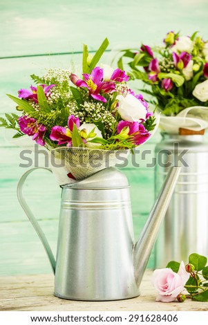 Bouquets of colorful flowers - stock photo