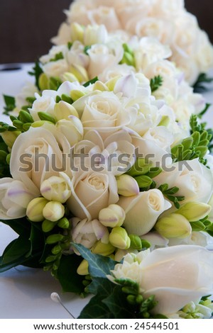 Bouquets of flowers from a wedding - stock photo