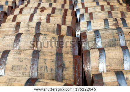 Bourbon barrels - stock photo