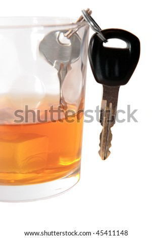 bourbon with keys inside glass on white background depicting drunk driving and addictions can kill - stock photo