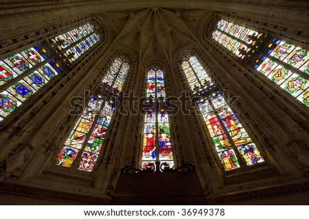 Bourg-en-Bresse (Ain, Rhone,-Alpes, France) - Ancient church of Brou: stained glasses