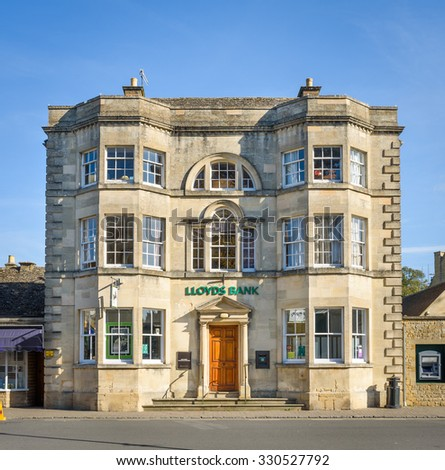 BOURTON ON THE WATER, UK - October 20, 2015 - A beautiful example of Lloyds bank in a traditional building in the Cotswolds, Gloucestershire, England, UK, October 20, 2015 - stock photo