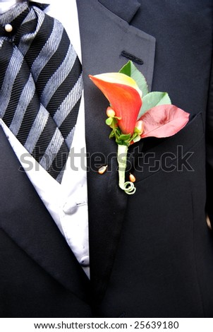 Boutonniere on Black Suit - stock photo